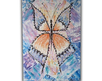 Original Oil Painting Butterfly Wall Art Decor Anniversary gift-for-women Living room decor Large painting on canvas Abstract Painting OOAK
