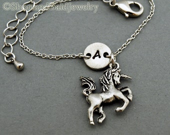 Unicorn charm bracelet, antique silver, initial bracelet, friendship, mothers, adjustable, monogram