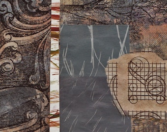 "Human Nature - Original Collage with Weathered and Hand Drawn and Painted Papers 4 x 4 on 5 x 5"" Backing"