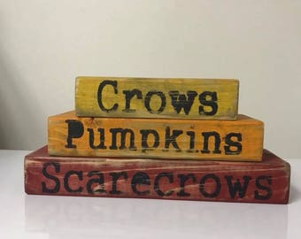 Crows Pumpkins and Scarcrow