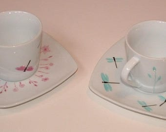 Service 6 v dragonflies and porcelain floral tea cups