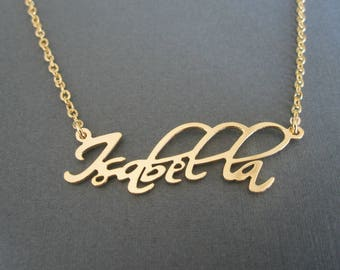 Personalized Gold Name Necklace - Custom Name Necklace - Baby Name - Bridesmaid Necklace - Bridesmaid Gift - Children Names Necklace