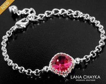 Fuschia Hot Pink Crystal Bracelet Swarovski Fuschia Rhinestone Silver Bracelet Wedding Hot Pink Chain Bracelet Bridesmaid Bridal Jewelry