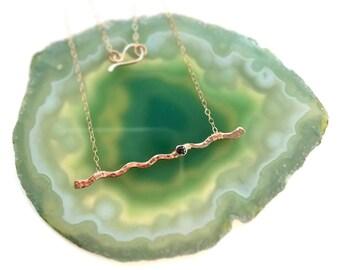 Genuine Diamond Bar Necklace / 14k Gold Bar / April Birthstone / Black Diamond Necklace / Gift for Her / Diamond Solitaire / Mom Jewelry