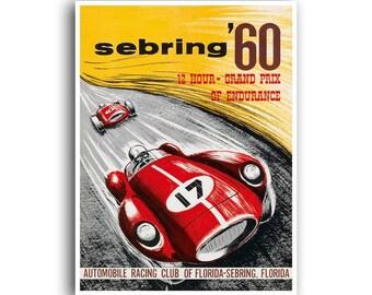 Car Poster Auto Racing Race Car Print Motor Sports Art (H381)