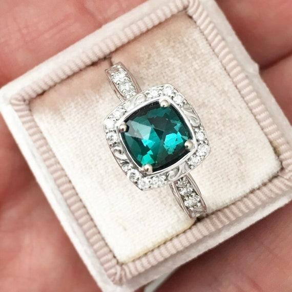 Natural Teal Tourmaline Diamond Halo Ring Fair Trade Gemstone