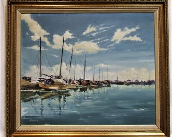 Michael Roffe original oil painting Fishing Boats signed framed fathers Day Gift English river landscape art peaceful art Worldwide Gift