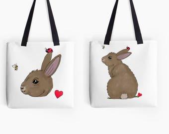 Animal bag, animal tote bag, animal tote, bunny bag, rabbit bag, rabbit tote bag, rabbit tote, tote bags women, tote women, woodland bags