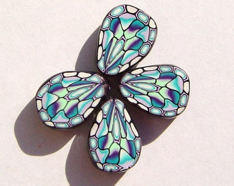 Stained Glass Butterfly Wing Handmade Artisan Polymer Clay Beads