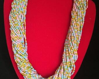 Pastel multiple strand seed bead twist necklace