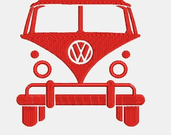 VW Volkswagen Bus Van Embroidery Design - Instant Download Filled Stitches Embroidery Design 881