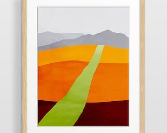 Impression d'Art paysage, paysage abstrait d'impression, au milieu du siècle moderne, moderne Art abstrait, paysage Art mural, Art Orange