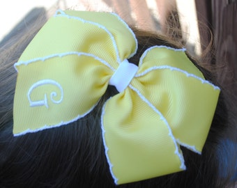 """Large Yellow Hairbow Monogram Ribbon Bows Personalized Toddler Hair Ties 5"""" Embroidered Hair Clip for Toddlers Hair Bows for Girls Hair Ties"""