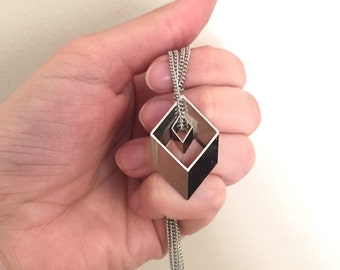 Double Rhombus Geometric Necklace in Silver Tone. 3d Abstract Minimal Pendats