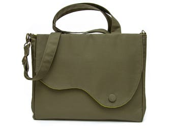 Elegant messenger and tote shoulder bag and crossbody in olive green soft cord and lime green cotton lining