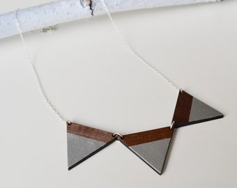 Triangles Contemporary Walnut Wood Necklace with Silver Chain - Bunting Necklace - Three Triangles Necklace - Wooden Necklace - Geometric