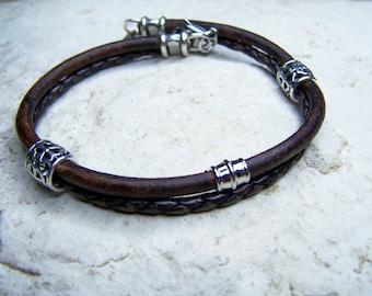 Leather Anklet for Men, Bolo Cord Anklet, Womens Ankle Bracelet, Beach Anklet