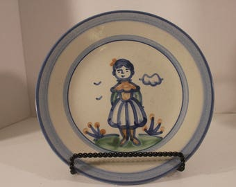 "Luncheon Lunch Plate M A Hadley  Pottery Stoneware  Farmers Wife 9"" USA"