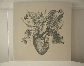 Growing Human Heart silk screened cotton canvas wall hanging 18x18 gray