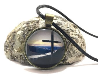 Cross on Mountaintop, Father Browns Cross, Mount Roberts, Juneau Alaska, glass pendant necklace, cross necklace, religious, Birthday