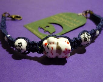 Lucky Cat Hemp Bracelet