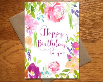 Every Day Spirit / Watercolor Happy Birthday Card For Her / Floral Birthday Card / Beautiful Birthday Card / Pink Birthday Card / 5x7