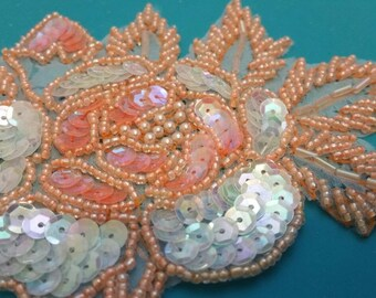Beaded sequin wedding bridal applique. Peach glass seed beads, sequin, straw beads.