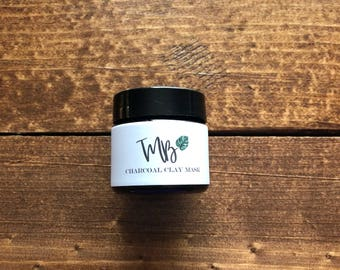 1oz Charcoal Clay Mask, Charcoal Mask, Travel Size, Facial, Bentonite Clay, Activated Charcoal, Raw Honey, Essential Oil Blend, Clear Skin