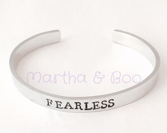 Custom cuff bangle, personalised stacking bracelet, skinny bangle, hand stamped, inspirational jewelry, customised cuff bracelet, fearless