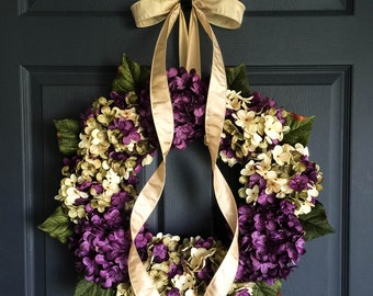 Spring Wreaths | Blended Hydrangea Wreath | Front Door Wreaths | Wreaths | Spring Door Wreath | Summer Wreath | Door Wreath