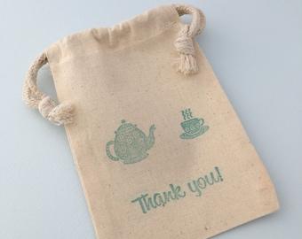 Tea Party Favor Bag with Teapot and Tea Cup Design: Muslin Drawstring Favor Bag