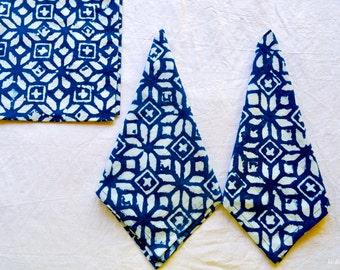 Custom made Set of 8 block print cloth Napkins Indigo Napkin wholesale napkin