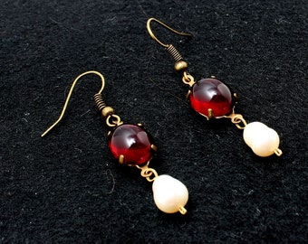 Earrings Garnet pearls