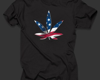 Weed Flagged Sign  T Shirt Top 100% Cotton TShirt Legalization T Shirt