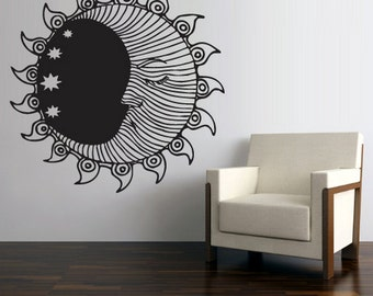 rvz2707 Wall Vinyl Decal Sticker Decal Sun Crescent Dual Ethnical Stars Symbol Moon