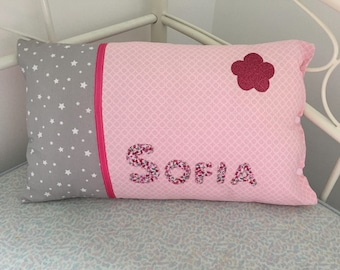 Shades of pink and gray personalized pillow