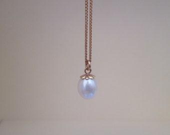 Vintage Lovely 14K Gold Pearl Necklace Pendant