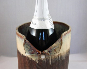 Stoneware champagne chiller or wine chiller, brown and cream