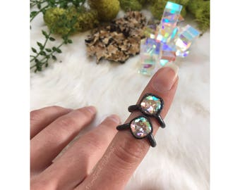 SALE Iridescent Aura Rings- Swarovski Crystal Aura Rings- Unicorn Princess rings
