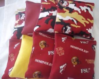 8 ACA Regulation Cornhole Bags - NCAA Florida Seminoles on 2 Different Prints
