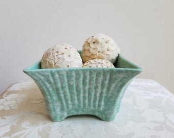 Vintage Planter USA Ceramic Pottery Mint Seafoam Green White Speckled Splatter Ribbed Design, Mid Century Decor