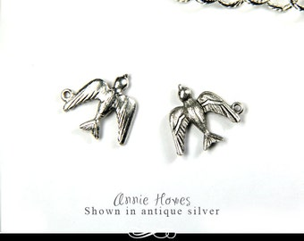 Sparrow Charm in Antique Silver . A Charming Little Bird for your Jewelry. Sold as single.