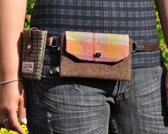 HARRIS TWEED fabric double belt bag/hip bag/fanny pack/ waist bag - South Kensington