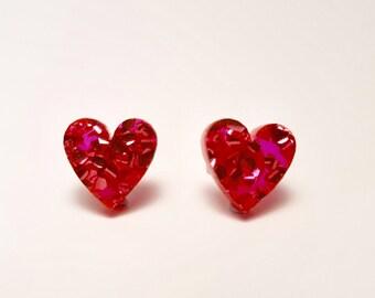 Heart studs - Sparkly Hearts - heart earrings - pink glitter stud earrings - Laser cut acrylic earrings - Acrylic earrings - Pink hearts