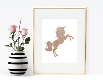 Rose Gold Unicorn Printable Artwork - Instant Download, 8x10, 5x7, Wall Decor, Glitter, Sparkly, Simple, Wall Art, Home Decor