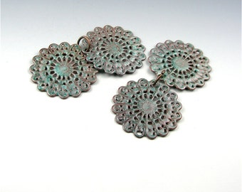 Enameled Round Filigree / Peppermint Enamel / Made to order