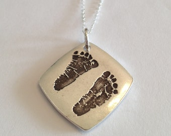 Double sided - Your Child's Actual Footprints or Hand Prints stamped into Silver Jewelry, Curved Square Pendant - by Surfingsilver