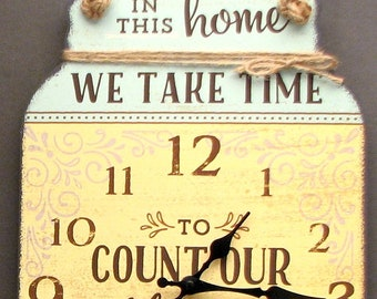 """Tin Wall Clock """"Count Our Blessings"""""""