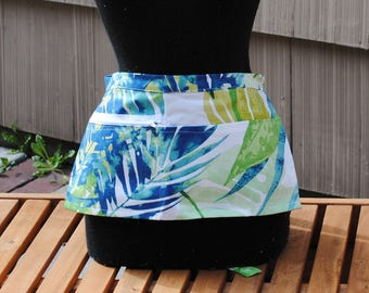 Vendor Apron Server Apron Travel Apron Blue Green Tropical Leaves Cotton Twill
