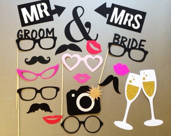 Wedding Photobooth Props Holiday Photo Booth Props Set of 20